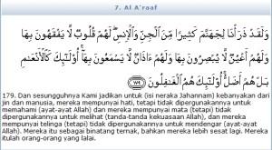 manusia lalai al-araaf-179